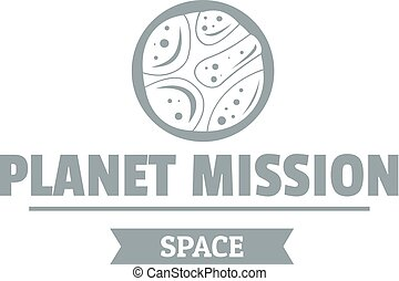 Space mission logo, simple gray style