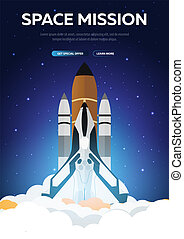 Space Mission. Space Shuttle. Astronomical galaxy space background. Vector Illustration.