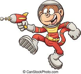 Space monkey with a retro ray gun. Vector clip art...