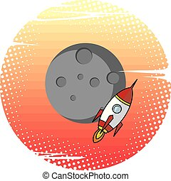 space moon expedition traveller rocket vector