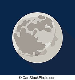 Space moon icon, flat style