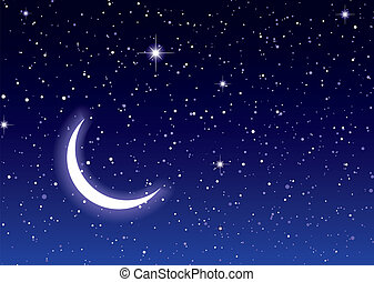 Space moon sky - Nights sky with moon and stars ideal...
