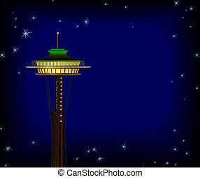 Space Needle at Night - Space Needle Background. Digital...