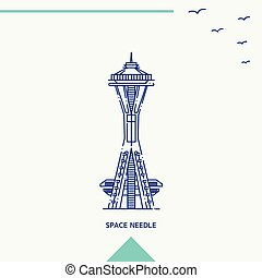 SPACE NEEDLE skyline vector illustration
