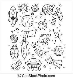 Space Objects in Handdrawn Style. Vector Illustration