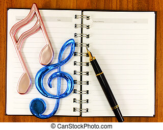 space of notebook and pen with christmas decoration