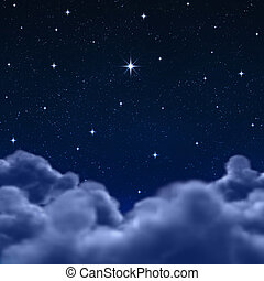 space or night sky through clouds - looking out to a wishing...