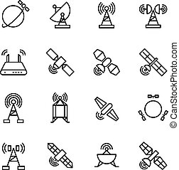 Space orbit communication satellite, global navigation vector line icons