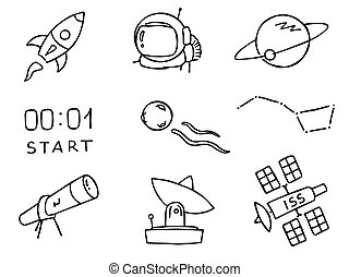 Space outline vector set, cute hand drawing
