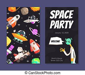 Space Party Card Template with Cute Funny Alien, Banner, Poster with Cosmos Symbols Vector illustration