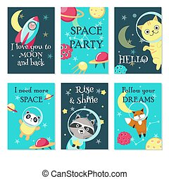 Space party invitation card vector template set