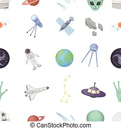 Space pattern icons in cartoon style. Big collection of space vector illustration symbol.