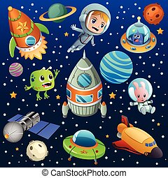 Space Planet Astronaut Poster Illustration