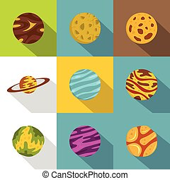 Space planet icon set, flat style