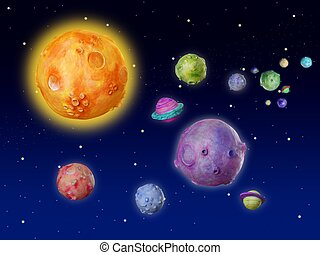 Space planets fantasy handmade universe - Space planets...