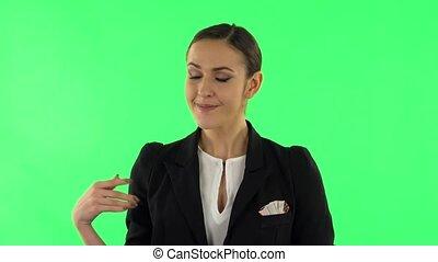 space., pointage, main, quelque chose, vert, conversation, écran, côté, copie, femme