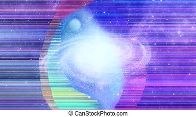 Vivid universe with nebulae and galaxy - Space portal. Vivid...