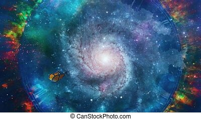 Space portal. Vivid universe with nebulae