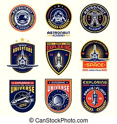 space program logo badge label template vector