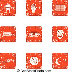 Space programme icons set, grunge style - Space programme...
