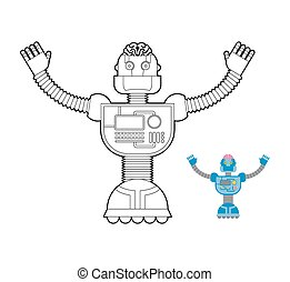 Space Robot coloring book. Cybernetic mechanism with artificial intelligence and human brains.