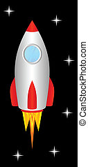 Space rocket. - The space rocket flies upwards, to space.