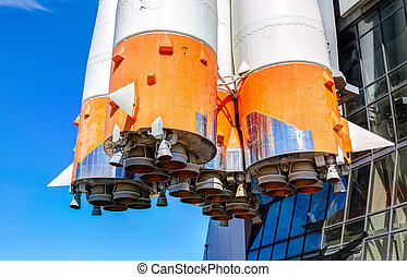 Space rocket engines of the russian spacecraft Soyuz