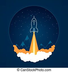 Space rocket flies into space