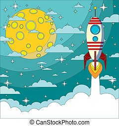 Space rocket flying in space with moon