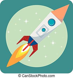 Space rocket flying in space with moon and stars