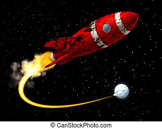 Space Rocket from Earth - A 50's like Space Rocket with a ...