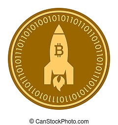 Space Rocket golden digital coin icon. Vector style. gold yellow flat coin cryptocurrency symbol. isolated on white.
