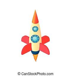 Space rocket icon, cartoon style