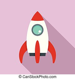 Space rocket icon, flat style