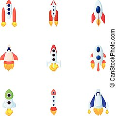 Space rocket icons set, cartoon style