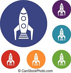 Space rocket icons set