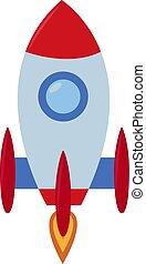 Space rocket, illustration, vector on white background.