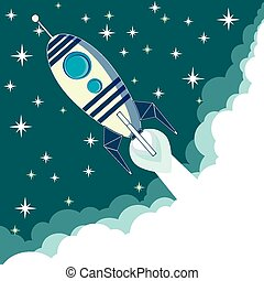 Space rocket in flight, vector