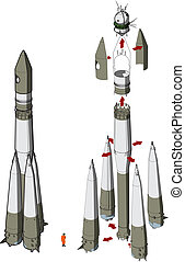Hi-detailed space rocket with first spaceship Available EPS-10 vector format separated by groups for easy edit
