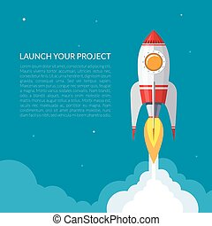 Space rocket launch background. Start up concept. Flat...