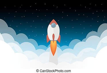 Space rocket launch - Space rocket in the clouds and sky...