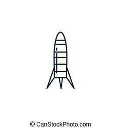 space rocket launcher line style icon vector illustration...