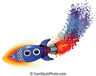 Space Rocket launching - A space rocket launching into the...