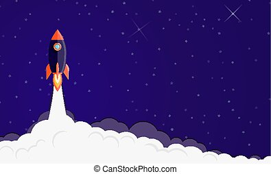 Space rocket launching background. Business banner concept ...