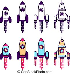 Space Rocket line icon set