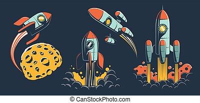 Space rocket of various designs flies in space