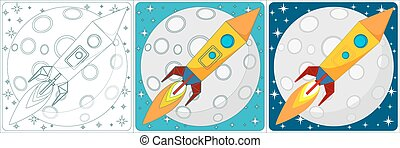 Space rocket on moon background. Set. Vector
