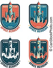 Space rocket retro badge with launch rocket