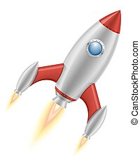 space rocket retro spaceship vector illustration