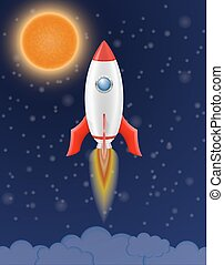 space rocket retro spaceship vector illustration